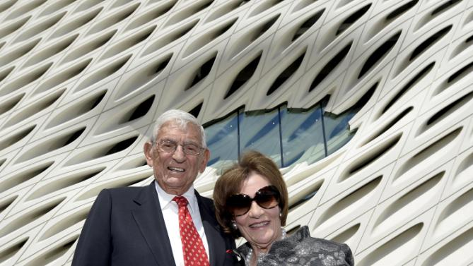 Eli and Edythe Broad pose during a media preview of The Broad Museum in Los Angeles
